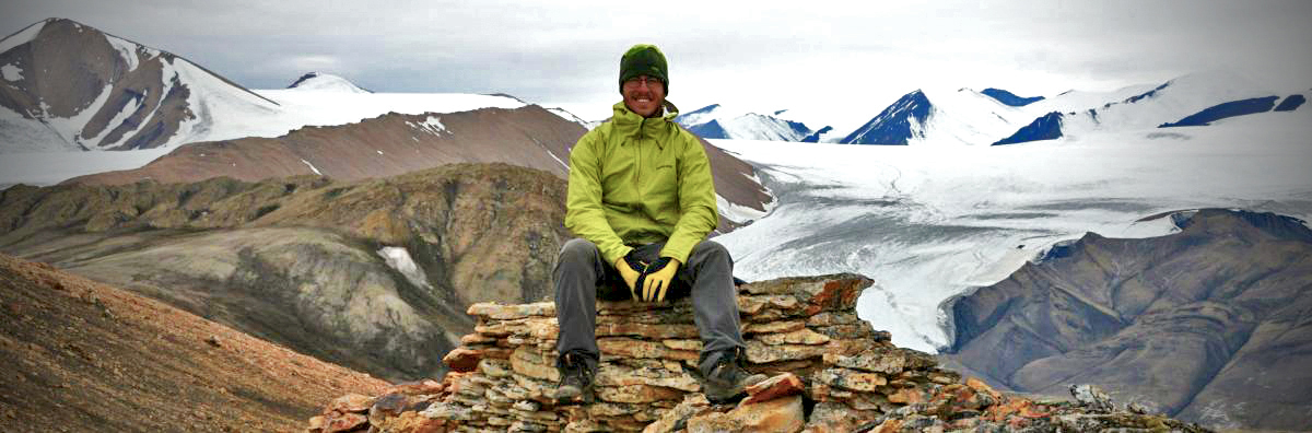 Previous graduate student Alex Quesnel doing fieldwork on Axel Heiberg Island, Nunavut